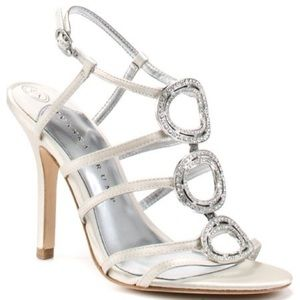Ivanka Trump silver strappy circles heels sandals